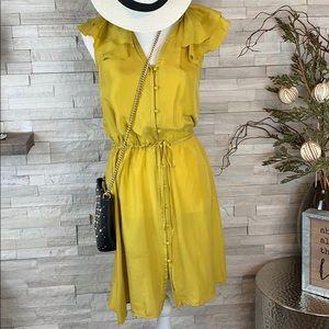 Ann Taylor Loft 100% Silk Yellow Dress Size 2 EUC